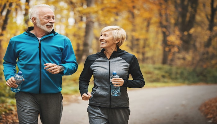 Elderly couple exercising at the park   DNAfit Blog