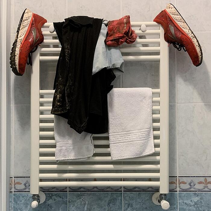 Simon's sneakers drying out after his Spartan Race