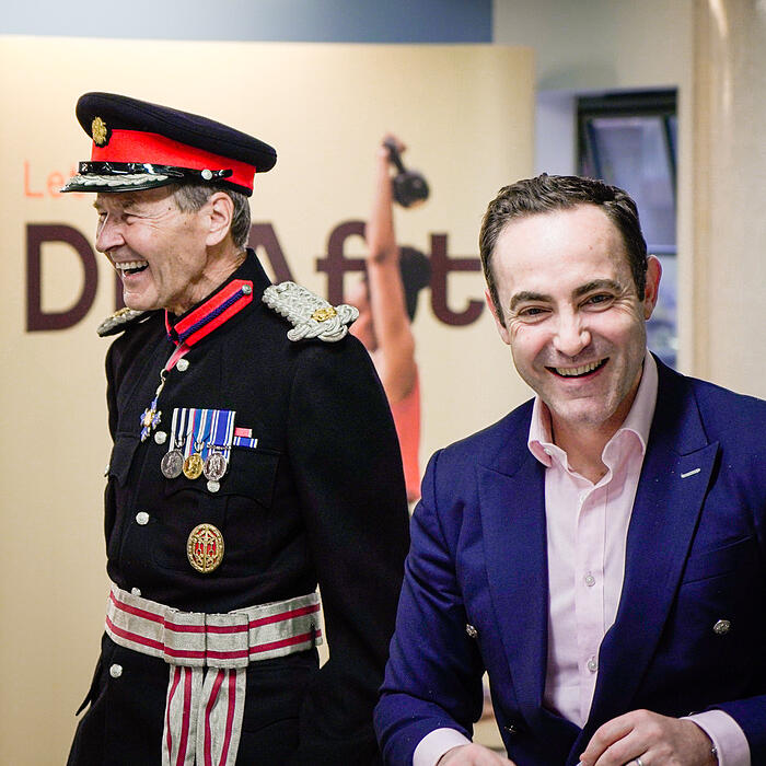 Smiles all around as Deputy Lieutenant Sir Ian Johnston visits DNAfit to deliver our Two Queen's Awards