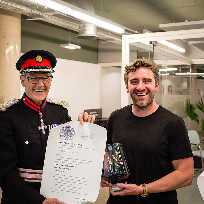 Deputy Lieutenant Sir Ian Johnston with DNAfit's Head of Product, Andrew Steele.