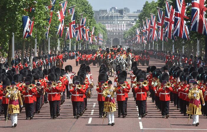 Guards and military bands march up the Mall in London in the Queen's annual birthday parade of Trooping the Colour